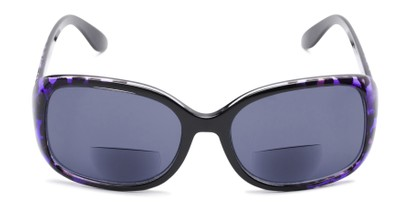 Front of The Cassia Bifocal Reading Sunglasses in Purple Leopard with Smoke