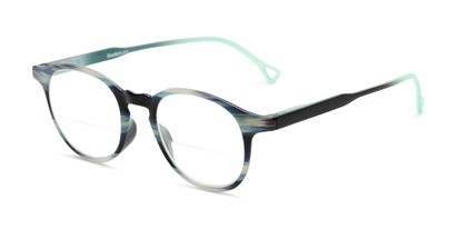 Angle of The Castle Bifocal in Green Stripes with Green/Black, Women's and Men's Round Reading Glasses