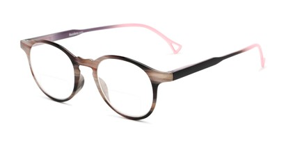 Angle of The Castle Bifocal in Brown Stripes with Pink/Black, Women's and Men's Round Reading Glasses
