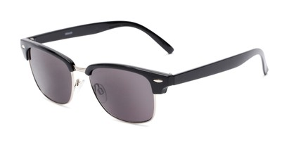 Angle of The Cayman Reading Sunglasses in Black/Silver with Smoke, Women's and Men's Browline Reading Sunglasses