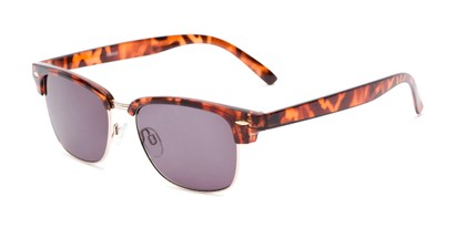 Angle of The Cayman Reading Sunglasses in Tortoise/Gold with Smoke, Women's and Men's Browline Reading Sunglasses