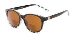 Angle of The Cecily Bifocal Reading Sunglasses in Black/Tortoise with Amber, Women's and Men's Round Reading Sunglasses