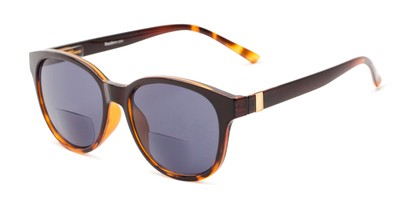 Angle of The Cecily Bifocal Reading Sunglasses in Brown/Tortoise with Smoke, Women's and Men's Round Reading Sunglasses