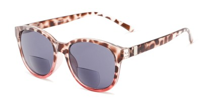 Angle of The Cecily Bifocal Reading Sunglasses in Tortoise/Pink with Smoke, Women's and Men's Round Reading Sunglasses