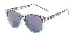 Angle of The Cecily Bifocal Reading Sunglasses in Tortoise/Teal with Smoke, Women's and Men's Round Reading Sunglasses