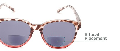 Detail of The Cecily Bifocal Reading Sunglasses in Tortoise/Pink with Smoke
