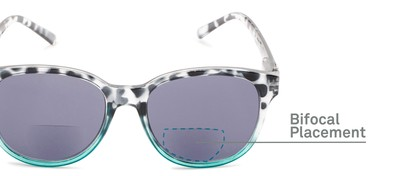 Detail of The Cecily Bifocal Reading Sunglasses in Tortoise/Teal with Smoke
