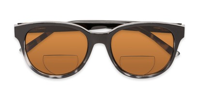 Folded of The Cecily Bifocal Reading Sunglasses in Black/Tortoise with Amber