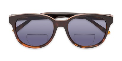 Folded of The Cecily Bifocal Reading Sunglasses in Brown/Tortoise with Smoke