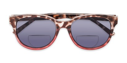 Folded of The Cecily Bifocal Reading Sunglasses in Tortoise/Pink with Smoke