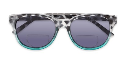 Folded of The Cecily Bifocal Reading Sunglasses in Tortoise/Teal with Smoke