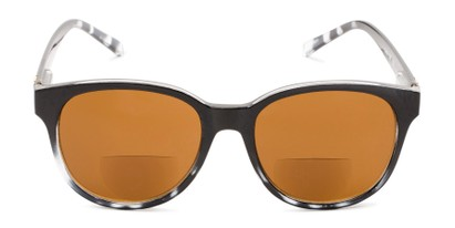 Front of The Cecily Bifocal Reading Sunglasses in Black/Tortoise with Amber