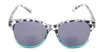 Front of The Cecily Bifocal Reading Sunglasses in Tortoise/Teal with Smoke