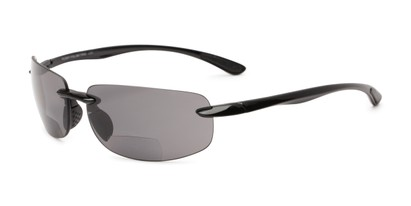 Angle of The Cedric Polarized Bifocal Reading Sunglasses in Black with Smoke, Women's and Men's Sport & Wrap-Around Reading Sunglasses