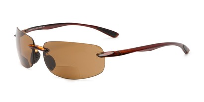 Angle of The Cedric Polarized Bifocal Reading Sunglasses in Brown with Amber, Women's and Men's Sport & Wrap-Around Reading Sunglasses