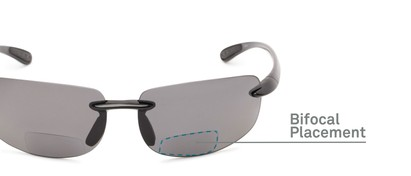 Detail of The Cedric Polarized Bifocal Reading Sunglasses in Black with Smoke