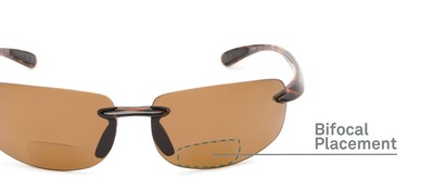 Detail of The Cedric Polarized Bifocal Reading Sunglasses in Brown with Amber