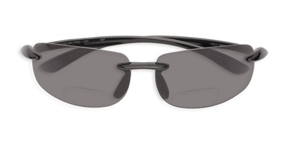 Folded of The Cedric Polarized Bifocal Reading Sunglasses in Black with Smoke