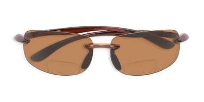 Folded of The Cedric Polarized Bifocal Reading Sunglasses in Brown with Amber