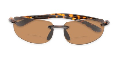 Folded of The Cedric Polarized Bifocal Reading Sunglasses in Tortoise with Amber