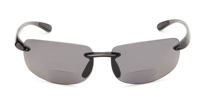 Front of The Cedric Polarized Bifocal Reading Sunglasses in Black with Smoke