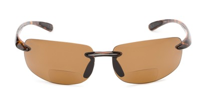 Front of The Cedric Polarized Bifocal Reading Sunglasses in Brown with Amber