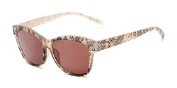 Angle of The Celine Reading Sunglasses in Tan with Amber, Women's Cat Eye Reading Sunglasses