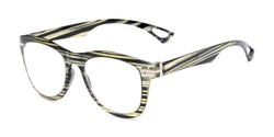 Angle of The Cerise Flexible Reader in Black/Green Stripe, Women's and Men's Retro Square Reading Glasses