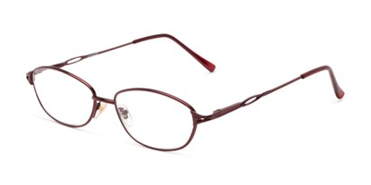 Angle of The Cerulean in Red, Women's and Men's Oval Reading Glasses