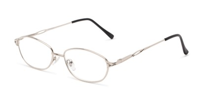 Angle of The Cerulean in Silver, Women's and Men's Oval Reading Glasses