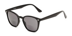 Angle of The Chambray Bifocal Reading Sunglasses in Matte Black with Smoke, Women's and Men's Retro Square Reading Sunglasses