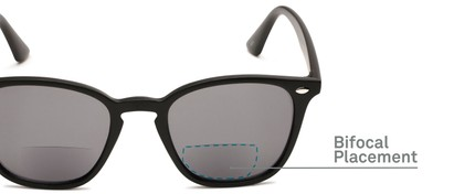 Detail of The Chambray Bifocal Reading Sunglasses in Matte Black with Smoke