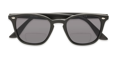 Folded of The Chambray Bifocal Reading Sunglasses in Matte Black with Smoke