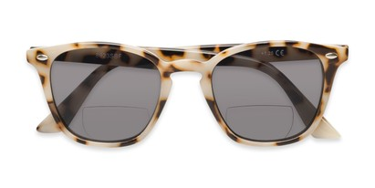 Folded of The Chambray Bifocal Reading Sunglasses in Tan Tortoise with Smoke