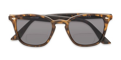 Folded of The Chambray Bifocal Reading Sunglasses in Matte Brown Tortoise with Smoke