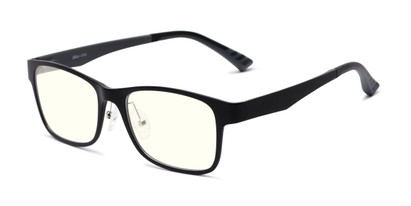 Angle of The Champ Blue Light Blocking Reader in Black, Women's and Men's Retro Square Reading Glasses