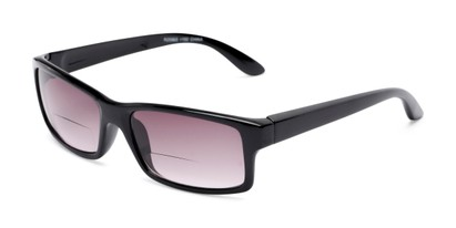 Angle of The Champion Bifocal Reading Sunglasses in Black with Smoke, Women's and Men's Rectangle Reading Sunglasses