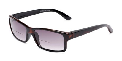 Angle of The Champion Bifocal Reading Sunglasses in Tortoise with Smoke, Women's and Men's Rectangle Reading Sunglasses