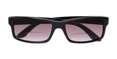 Folded of The Champion Bifocal Reading Sunglasses in Black with Smoke