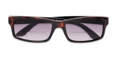 Folded of The Champion Bifocal Reading Sunglasses in Tortoise with Smoke