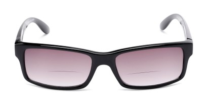 Front of The Champion Bifocal Reading Sunglasses in Black with Smoke