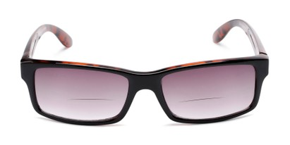Front of The Champion Bifocal Reading Sunglasses in Black/Tortoise with Smoke