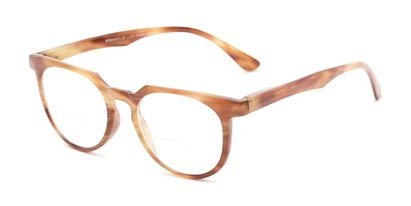 Angle of The Chapter Bifocal in Brown Stripe, Women's and Men's Round Reading Glasses