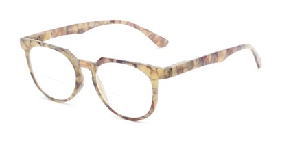 Angle of The Chapter Bifocal in Marbled Grey/Brown, Women's and Men's Round Reading Glasses