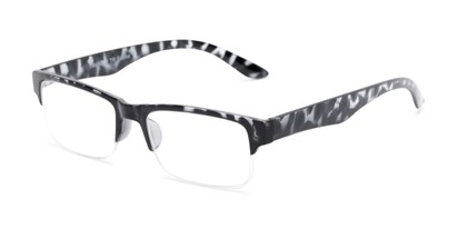 Angle of The Chariot in Grey Tortoise, Women's and Men's Rectangle Reading Glasses