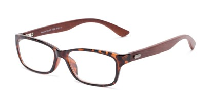 Angle of The Charlie Recycled Wood Reader in Tortoise/Wood Temples, Women's and Men's Rectangle Reading Glasses