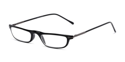 Angle of The Charm in Black, Women's and Men's Rectangle Reading Glasses