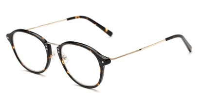 Angle of The Chateau Signature Reader in Brown Tortoise/Gold, Women's and Men's Round Reading Glasses