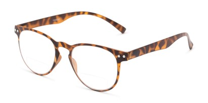 Angle of The Chatham Flexible Bifocal in Light Tortoise, Women's and Men's Round Reading Glasses