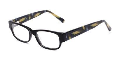 Angle of Chelsea by felix + iris in Black Geo, Women's Retro Square Reading Glasses